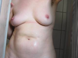 Natural view of wet fur, at pussy and pits.A sight that always turns me on when exposed  - in private or public.