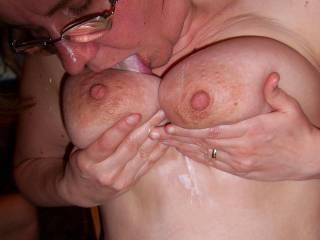 hmmm licking his man cream off my tits..