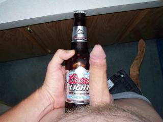 I made him do this pic so you girls out there could get an idea of how big he can get. He is limp in this pic. Any girls out there want to cum make him hard with me;)