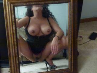 Would love to sit on a cock and watch it slide in and out in the mirror