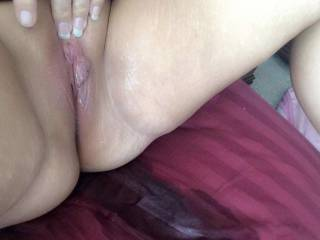 Her freshly fucked pussy with cum filled sheets