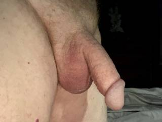 Just out of bed after fondling my penis under the covers for awhile.