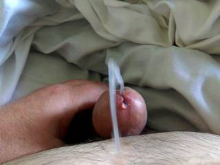 Third in the sequence of in flight cumshot. I know what you ladies are thinking ...o god I want that seed in me...in my mouth..in my tight ass...plant that seed in me so the swimmers find those eggs.