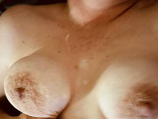 Nothing beats a cum shot after a sweet titty fuck.....can't get enough of that cum all over my tits