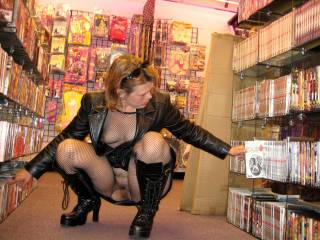 Shopping at a local adult toy store