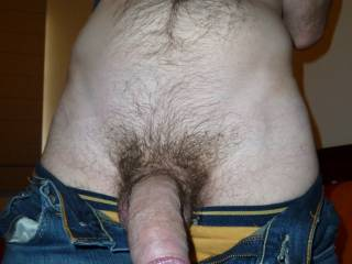 How about a photo with your jeans up and buttoned but unzipped, with your fully hard cock sticking out of the slit?