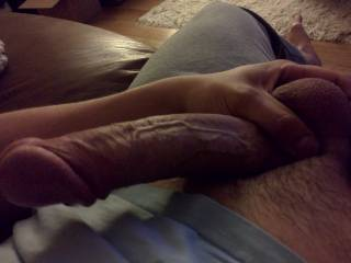 I'd like to play with your balls while you fuck my throat!