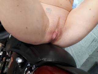 close up of my little pussy sitting on hubbies bike