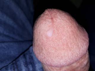 Horny and playing with my cock again, and leaking just a drop