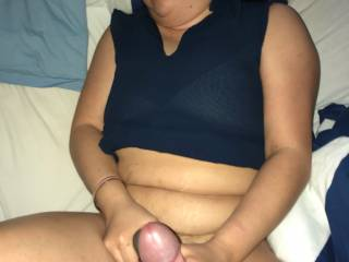 He loves when she grabs his hard cock and giving handjob