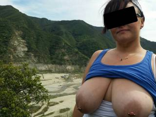 Took a drive into the canyon with Vixxxen, decided to get out and walk a short trail. Needless to say, a fam nearly caught us taking this pic..Vixxxen hugged me to quickly hide her huge tits so we weren\'t rude lol! Love my lil \' exhibitionist!