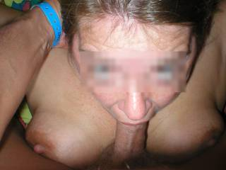 Love how she's gagging on your thick cock with her hot tits out! x