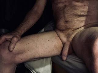 Sitting on the side of my bed with an early morning swollen penis.