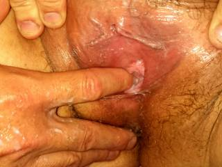 after thinking about eating a friends pussy, hubby finger fucked me to 3 orgasms, can you see how wet I am?