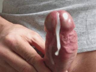 A lick and I'd suck your cock clean of all that cum.  I'd swallow your cock and your cum. That is a hot sexy picture.  I love it.  MILF K
