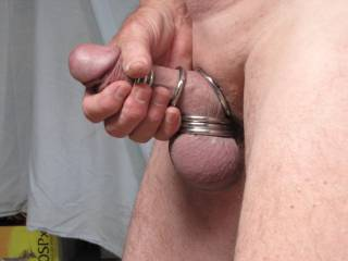 I get so hot and sexy feeling when my cock has cock and ball rings on, then it is time to jack it off for your pleasure.  Only a little fat cock but it still fires well.