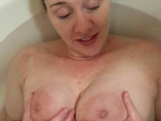 I love holding my big milk filled tits... think you would too?  A formerly private upload... enjoy!