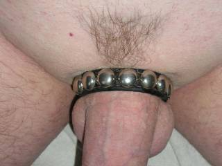 shaved cock and leather cock strap