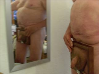 big belly small cock in frame in front of mirror