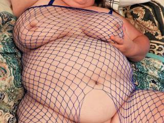 Beautiful and Lovely wife in her new blue Fishnet Bodysuit