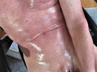 oiled myself up to feel good and masturbate.