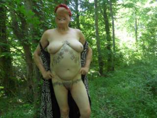 hi if you go down to the woods today you never know what you might see. dirty comments welcome mature couple