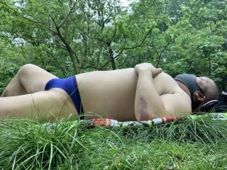 speedo, bikini, thong, brief, sunbathing,Central Park, outdoors,
