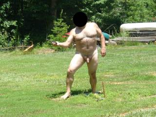 here I am playing by myself outside.Would any women like to play with a horny old man?