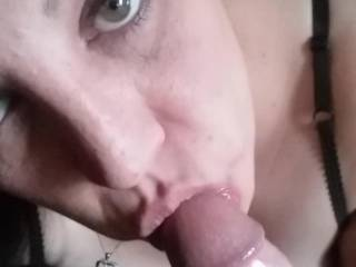 I love sucking his big cock, getting ready to fuck my wet pussy.