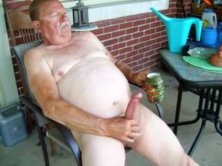 Coffee and cock stroking on the front porch.