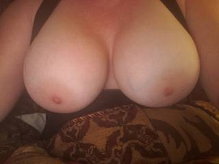My wife gorgeous tits. Waiting for a load of cum.