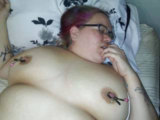 My big titty ex with nipple clamps on.  Her boyfriend has no idea she still sends me nudes.