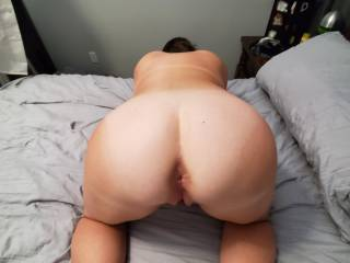 Wife ready to take my hard cock from behind.. witch hole should I fuck first ass or pussy ? ?  She loves both