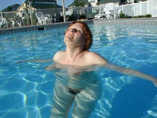 Young bf making me swim in community pool nude.