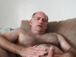 Stroking my big, hard cock, wanting to feel you deep inside