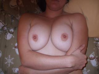 I'd love to see those beautiful tits while I'm fucking you.  Your husband is a lucky man...