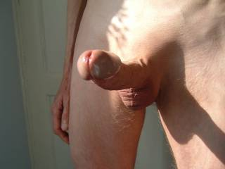 Great pic, cool shadow and a hot cock and balls!