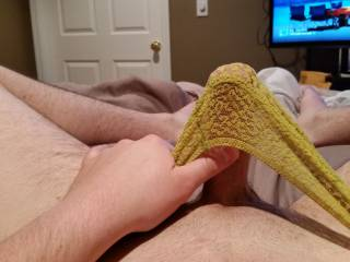 So good to see that hot and hard cock stretching out those sexy panties.