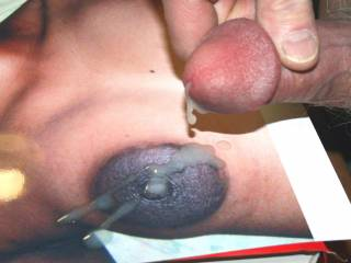Cumming hard all over Melvincease\'s wife\'s big nipple.