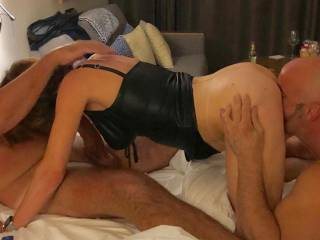 Giving the husband a BJ while J provides back up x