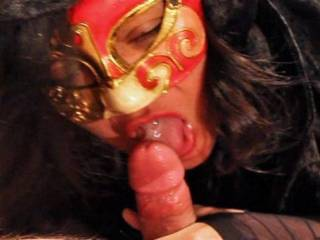 Do I look hot & sexy licking a cock with a mouth full of cum?