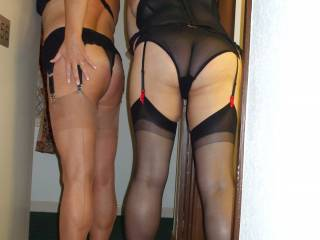 Wasting their time if they are not with these two lovely ladies! Two pairs of very shapely legs! Lovely!