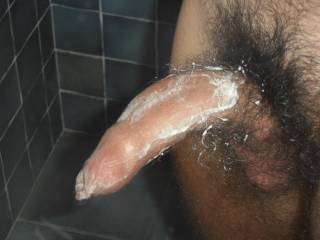 Mmmmm, let me wash that hot cock....please.  I want to clean off that soap so I can pull your foreskin back and suck the head of your cock and let you cum in my mouth. MILF K