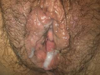 Nicely cream filled pussy looking for a hot lady to lick clean. 👩❤️💋👩💞💋💋