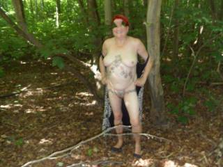 hi all more pictures of me walking around the woods almost took it all of, please do make suggestions for new pictures. dirty comments welcome mature couple