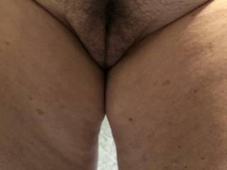 Teasing me with her mature pussy.