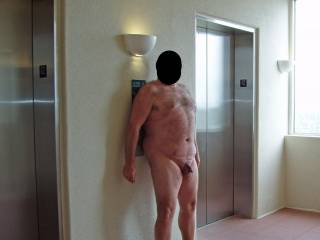 Summer 2008 Beach Vacation.  Hubby posing in the nude in various outdoor locations around the condo.  He was so exposed and vulnerable to getting caught...it was HOT! Was busy watching the elevators and 3 women walked out of the stairwell!