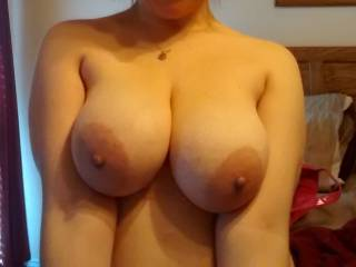 Wow! You have the most perfect tits...size, shape, big aerola (my favorite!) and deliciously hard nipples just begging to be licked and sucked on!!