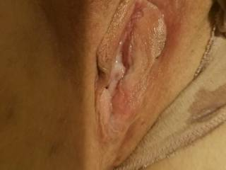 Can you see Kevin\'s cum leaking out of my pussy onto my panties? Want to add your cum to my pussy?