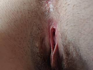 Wife's pussy spread waiting my dick inside